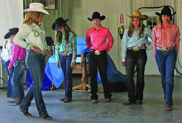 From left, Miss Rodeo America Jordan Tierney of Oral, Myla Ray Gutknecht of Sturgis, Allison Morrison of Rapid City, Avari Dorrance of Custer and Mercedes Shangreaux of Hermosa.