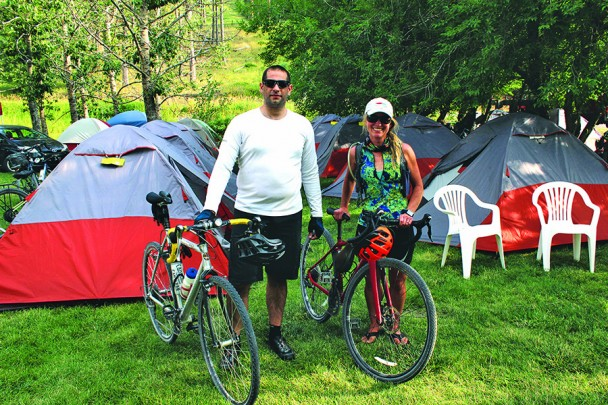 Native Austrailian Justin Wehner and Taryn Ashlock, recently of Santa Barbara, Calif., were two of the 63 riders from around the nation who participated in last week's second Black Hills 100 bike ride from Deadwood to Edgemont on the Mickelson Trail. The duo deviated from the prescribed course to ride their bikes to Mt. Rushmore, visit Crazy Horse Memorial and take a cool dip in Legion Lake on Wednesday.