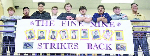 """For the second year in a row, nine Custer wrestlers are headed to the state wrestling tournament. This year's """"Fine Nine"""" are, from left, Logan Graf, Pierce Sword, Mikael Grace, Parker Noem, Jonathan Lewis, Brennan Hanes, Irail Griffin, Eli Steele and Micaiah Grace. This year's state tournament begins Thursday in Sioux Falls"""